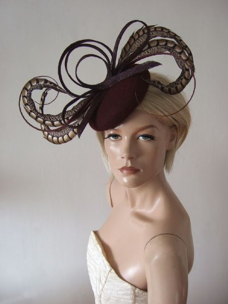 "Morello Burgundy Amherst Pheasant Feather Felt Fascinator Hat  Headpiece ""Beth"" Winter Weddings"
